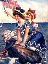 "11x14"" Cotton Canvas Print, Two Girls on Rock in Ocean, American Flag, P... - $23.99"