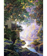 """11x14"""" Cotton Canvas Print, The Old Glen Mill, Maxfield Parrish, River, Flowers, - $23.99"""