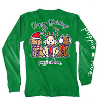 Puppie Love Rescue Dog Long Sleeve Graphic Tee/T-Shirt, Happy Holidays Pup