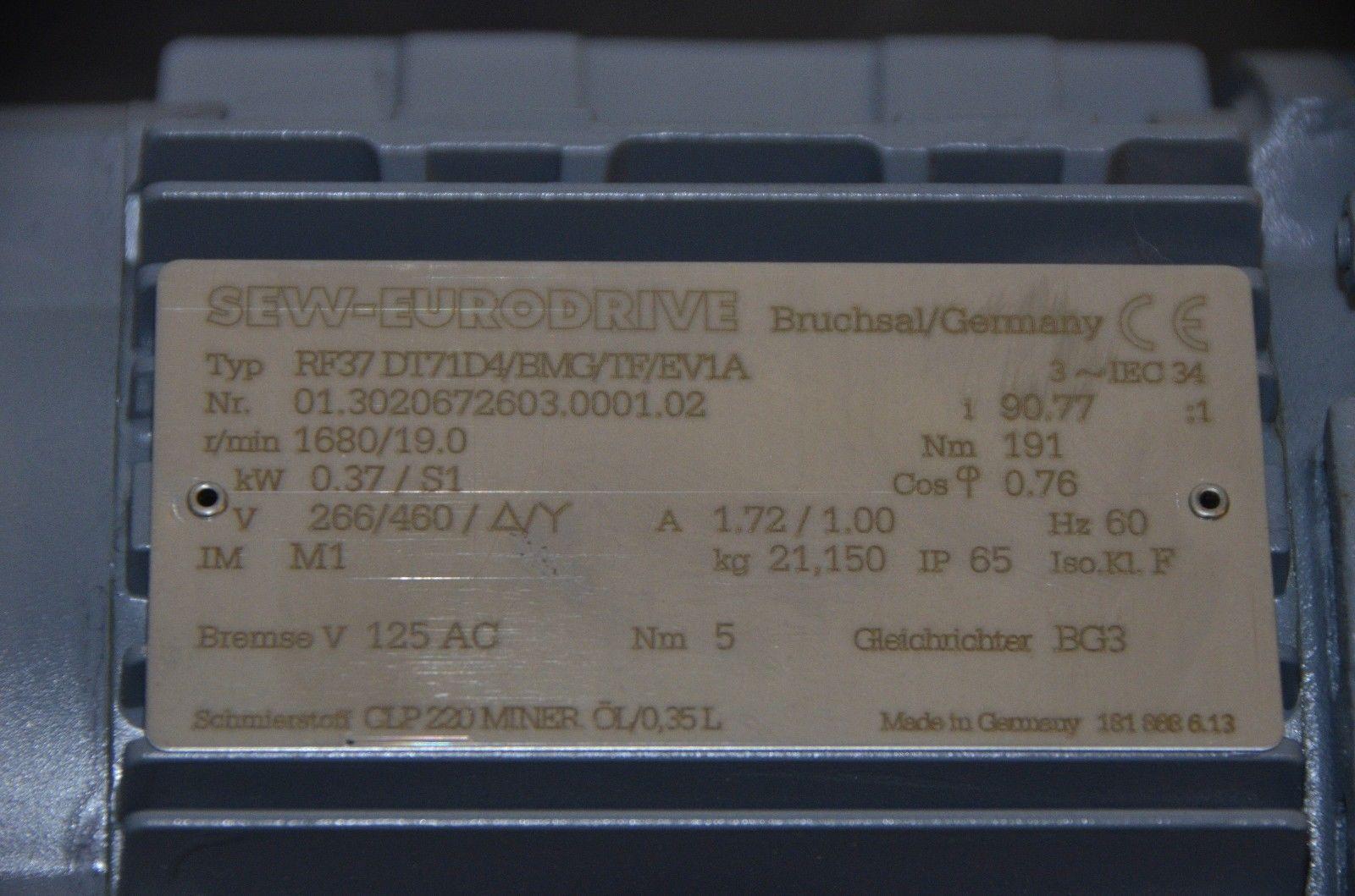 Sew Eurodrive Rf37 D171d4 Bmg Tf Ev1a Gear And Similar Items