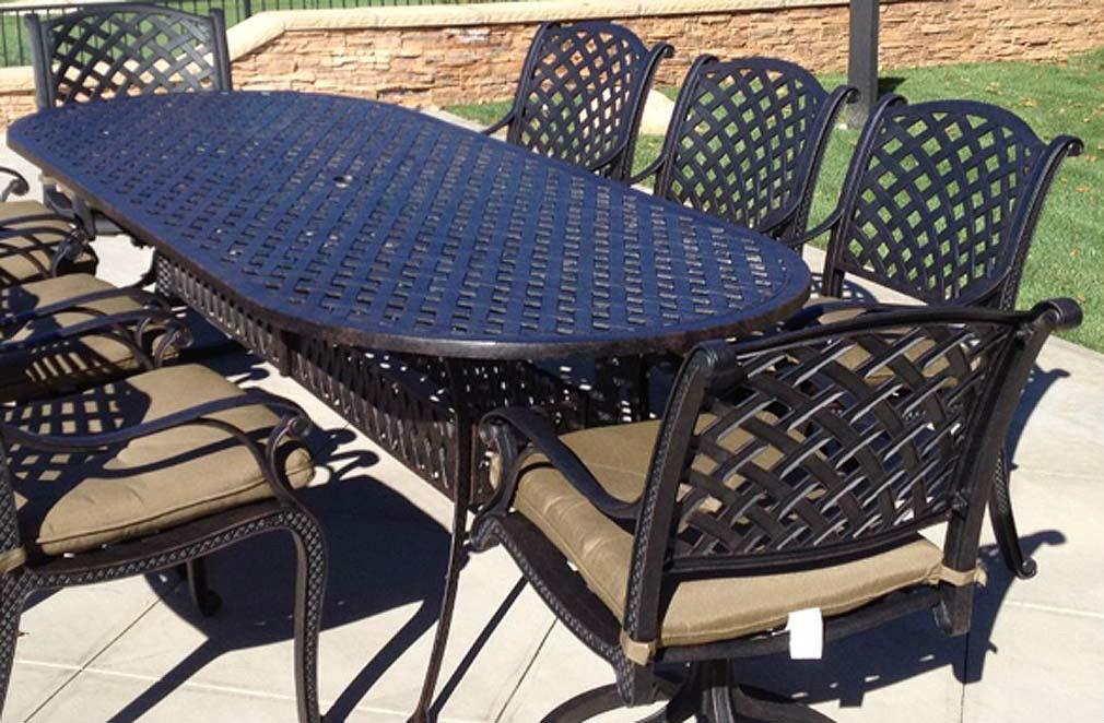 Patio Dining Set 9pc Cast Aluminum Luxury Outdoor