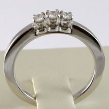 White Gold Ring 750 18k, Trilogy 3 TOTAL CARAT DIAMONDS 0.18 Square Shank image 4