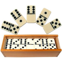 Dominoes Double Six Pro Game Brass Bones Spinner Wooden Case Family Fun ... - $27.33
