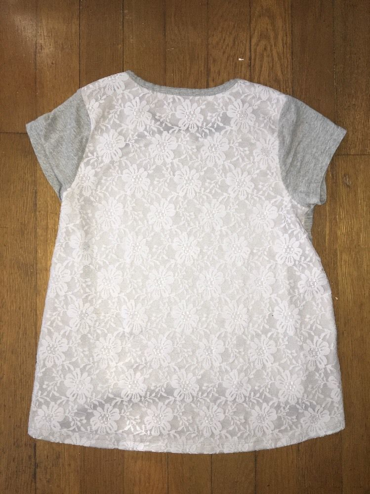 ! childrens place gray white floral lace tee shirt top size medium 7 - 8 girls