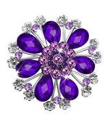P ugster Vintage Purple Tear Drop Stone Crystal Rhinestone Open Floral Flower Le - $31.99