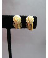 Vintage 12k Gold Filled GF Carved Flower Leaf E... - $24.74