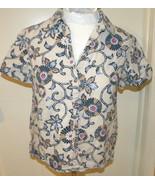 Sag Harbor women's short sleeve button down floral linen blend shirt sz P M - $12.99