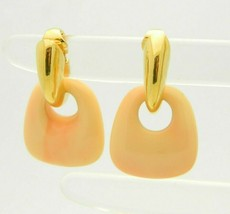 Crown Trifari Peach Lucite Door Knocker Gold Tone Dangle Earrings - $49.49