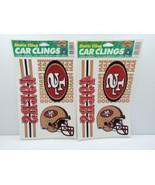 49ers Static Cling Car Clings Lot 2 Sheets NFL Color-Clings SF Helmet Fr... - $7.99