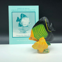 Franklin Mint Fish Figurine Porcelain Statue Jewel Sea Orange-face Butterflyfish - $29.65