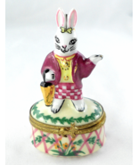 Limoges Box - Lady Rabbit & Flowers - Bunny - E... - $80.00