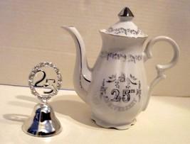 V intage 25th Wedding Anniversary Lefton Tea Pot and Bell - $26.76