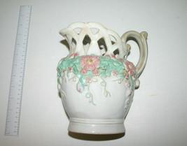 Decorative Collectible Floral Lattice Pitcher-Vase - $20.34
