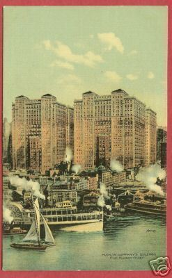 NY NEW YORK Hudson River Hudson Co Buildings Ships BJs