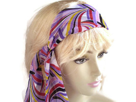 Lavender Head Scarf, Multi Colored Head Scarf, Orchid Scarf, Skinny Scarf - $7.25