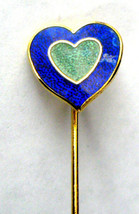 Stick Pin Heart Enamel Vintage Blue And Green Lapel Pin 1970s Lapel Pin ... - $10.00