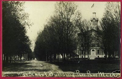 PAW PAW MICHIGAN High School Street RPPC MI