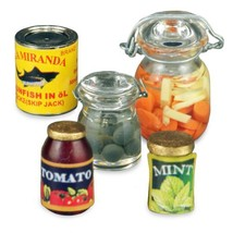 DOLLHOUSE Preserves & Canned Goods 1.417/5 Reutter Jars Miniature - $25.33