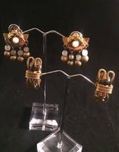 Vintage 2 Pair Freirich Earrings Clip Goldtone Dangle - $19.29