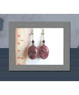 Argentinian Rhodonite Oval Earrings w/Swarovski Crystals - $8.50
