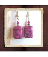 Argentinian Rhodonite Rectangular Gemstone Earrings w/Swarovski Crystals - $8.50