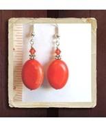Red Turkey Turquoise Gemstone Earrings w/Swarovski Crystals - $8.50