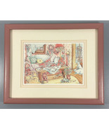 "Alice Shaw Art Print Framed Matted  Country Cottage 1989 11"" x 9"" Cats, ... - $29.95"
