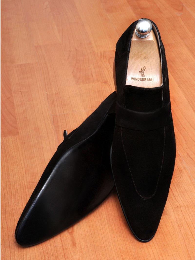 Handmade mens black suede leather mocassins, Men's black ...