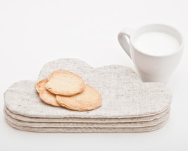 White Coaster for cups, Drink Coaster, Home Decor, Cloud Womens Gift  - $4.80