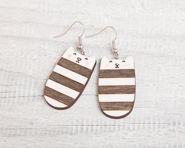 Striped Сat Earrings Wood Black Сat Long earrin... - $14.00