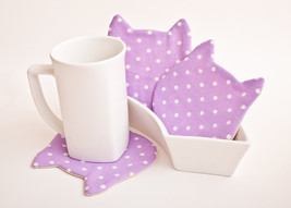 Coasters Polka Dots Cat Fabric Coasters for cups, set of 4 Housewarming ... - $17.00