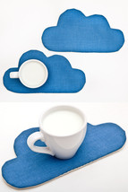 Cute Blue Coaster for cups, Cloud Drink Coaster, Home Decor Womens Gift  - $4.80