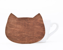 Brown coasters, Wooden Cat coaster for cups, barware, Brown coasters, Ma... - $4.00