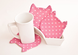 Pink Drink coasters Cat Fabric Coasters for cups, set of 4 Housewarming ... - $17.00