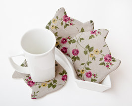 Gray Coasters for Cups Cat set of 4 Floral Pattern Kitchen Decor Drink C... - $17.00