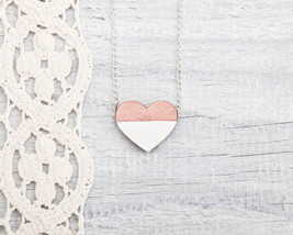 Wooden heart necklace Pink White Pendant Tiny Necklace Gifts for Her - $17.00