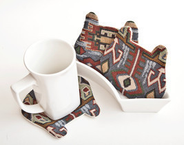 Tribal Bear Fabric Coasters Animal Coasters set of 4 Housewarming Gifts - $17.00