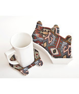 Tribal Bear Fabric Coasters Animal Coasters set of 4 Housewarming Gifts - $21.69 CAD