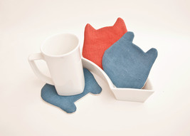Fabric Coasters for cups set of 4 - 2 blue 2 red cat bear Kitchen Decor - $17.00