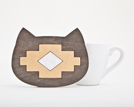 Tribal Wooden coaster, Cat coaster for cups, Native American Womens Gift  - $4.30