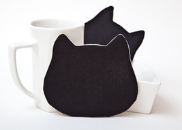Black Coasters Kitchen Decor Cat Coasters for cups set of 4 Black cat Mo... - $17.00