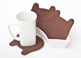 Bear Brown Coasters for cups, barware, set of 4, Bear Womens Gift  - $15.00