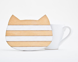 Gold Coaster, Handmade Wooden Coaster, Cat, Many color variations - $4.30