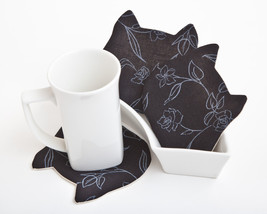 Black Coasters for cups, set of 4, Cat Fabric Coaster,  Black cat Womens... - $15.00