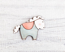 Horse Brooch Gift for Coworker Laser Cut Wood Pin Blue Pink Womens Gift  - $14.00