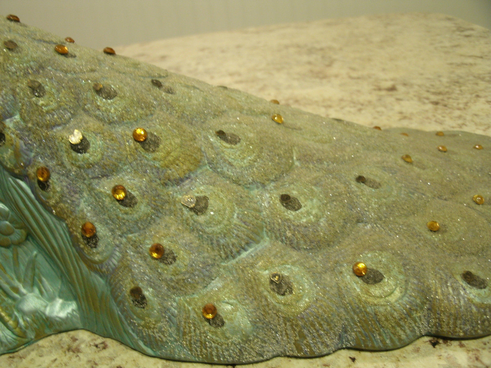 Stunning Vintage Early Art Deco Unique Ceramic Peacock Rhinestones & Beads