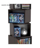 Furniture CD Video Racks Stand Movie Game Shelf Wood Tower Rotating Storage Cube - $89.99