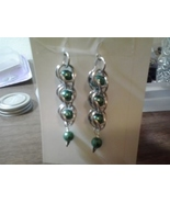 chain maille earrings with silver ear wire and teal pearls - $1.00