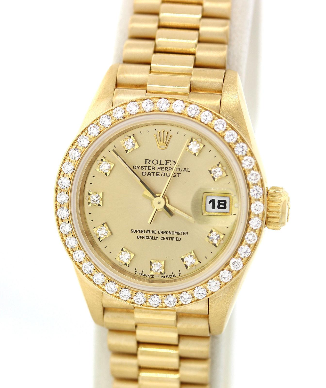 Ladies Rolex DateJust 18k Gold Original Diamond President 69138 26mm Watch