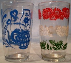 Swanky Swig Glasses Antique Blue & Bachelor Button - $10.00
